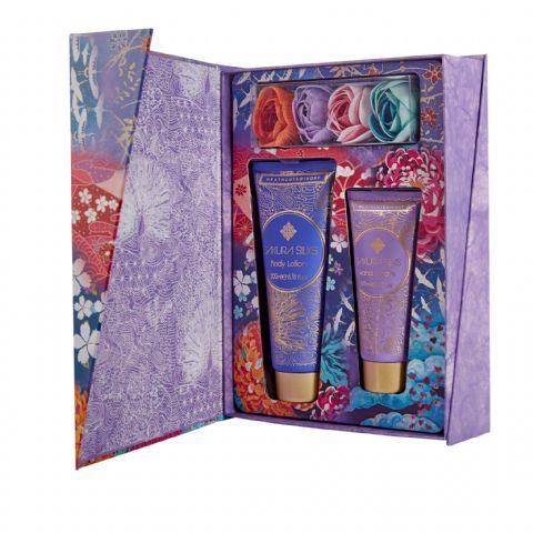 Sakura Silks Divine Collection Gift Set - Hand Cream Body Lotion Bathing Flowers Heathcote & Ivory
